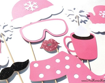 Winter Photo Booth Props - 10 piece set - GLITTER Photobooth Props - Snow Bunny, Ski Bunny - Pink