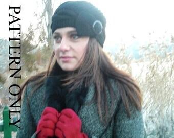 Instant Download  knitting pattern hat  - Digital  Hat Knitting PATTERN PDF - Cable Knit hat  Pattern - Cloche Hat Knit Pattern Womens hat
