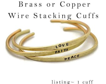 Hand Stamped Cuff Brass or Copper  Bracelet Thin Wire Textured Skinny Hammered Stacking Mantra Bracelet Personalized Bridesmaid Jewelry