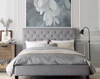 White Hydrangea Painting - Original Large Acrylic Monochromatic Gray Wall Art Romantic Bedroom Picture
