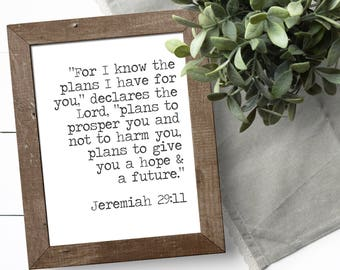 Bible Verse Wall Art - Jeremiah 29 11 - Christian Wall Art - For I Know The Plans I Have For You - Encouragement Gifts - Christian Decor