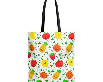 Fruit Tote Bag Cute Tote Bags Funny Tote Bag Cute Fruit Tote Bag Fresh Fruit Tote Bag Happy Fruit