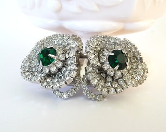 Rare Hattie Carnegie Brooch Duet Pin Book Piece Emerald Green Glass and White Rinestones Duette Vintage from TreasuresOfGrace