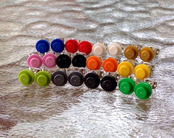Custom Lego round brick stud earrings, kids earrings, Lego jewelry