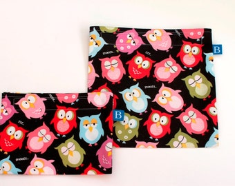Reuseable Eco-Friendly Set of Snack and Sandwich Bags in Sleepy Owls Fabric