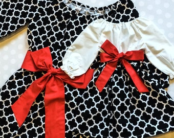 Black Quatrefoil Mommy and Me Dresses - Matching Mother Daughter Dresses - Mommy and Me Outfits - Mother Daughter Dresses - Matching Dresses