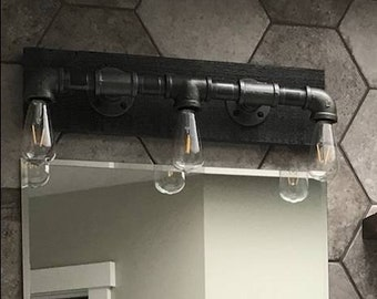 Big Pipe Vanity Light , Industrial Style - Gas Pipe light fixture