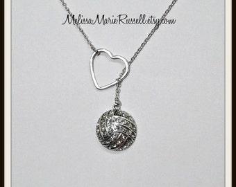 SALE - Volleyball / Water Polo  Necklace with Rhinestones, Heart, handmade jewelry, mom, wife, girlfriend, fiance, birthday, christmas, sale