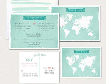 Destination wedding bilingual wedding invitation invitation Two Countries, One Love Bilingual World Map  French-English DEPOSIT Payment