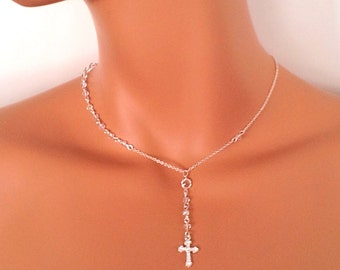 Sterling Silver Rosary Necklace Swarvovsi Crystal Cross Necklaces Confirmation Gift Communion Bride Wedding Jewelry Deicate