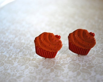 Cupcake Earrings -- Cupcake Studs, Cupcake Jewelry, Cupcake with a Cherry on Top