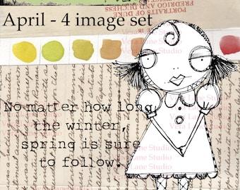 April:  spring inspired digi stamp set.  Whimsical gal digi stamp bundle in png and jpg files