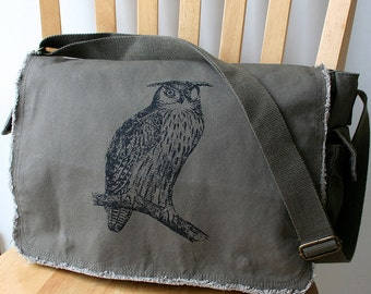 Owl Canvas Messenger Bag Laptop Bag