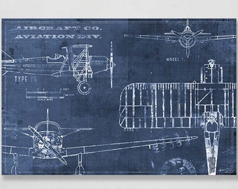 BLUEPRINT AIRPLANE, Art Print 30x20 in; Canvas or paper