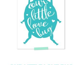 Ladybug Nursery, Ladybug Print, Ladybug Wall Art, Teal Nursery Decor, Aqua Nursery Decor, Calligraphy Nursery Art, Love Print
