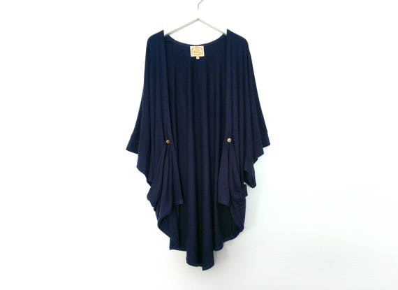 Rose Kimono Cardigan with Gold Buttons / Navy / Black / Light Heather Gray