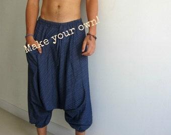 Original Harem Pants Tutorial Template Men or Women Digital Download Pattern Wide Leg Low Crotch Yoga Pant