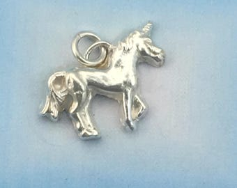 Fine Silver Unicorn Pendant made from Precious Metal Clay