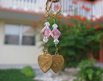 I Love You Heart Charm Earrings, Pink and Aurora Borealis Swarovski Crystals