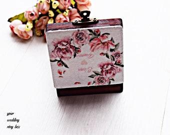 Wedding box floral ring box rustic ring box wedding ring box Mr and Mrs bearer Mr and Mrs box Rustic ring bearer box wedding ring holder