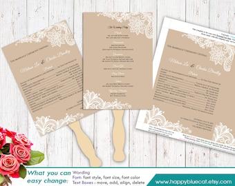 "DiY Printable Wedding Fan Program Template - Instant Download - EDITABLE TEXT - Rustic  Burlap lace  5""x7"" - Microsoft® Word Format HBC1"