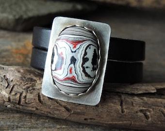 Artisan Jewelry, Bezel Gemstone, Fordite Agate, Leather Bracelet, Statement Jewelry, Cuff Bracelet, Trending Jewelry, Silver Bezel, Rustic