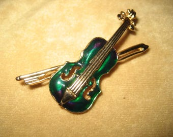 Violin Brooch Pin Enamel Vintage