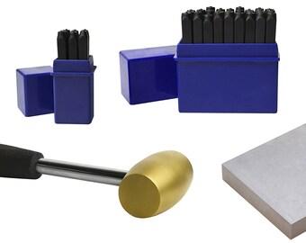 "4 mm 5/32"" 36 Piece Steel Alphabet/Letter Number Stamp Set 1 Lb Brass Mallet Steel Bench Block Jewelry Making Metal Stamping Kit - KIT-0124"