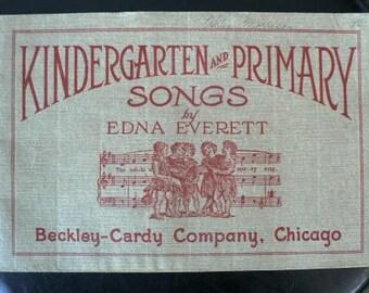 vintage music book  ... KINDERGARTEN and PRIMARY SONGS vintage music book  ...