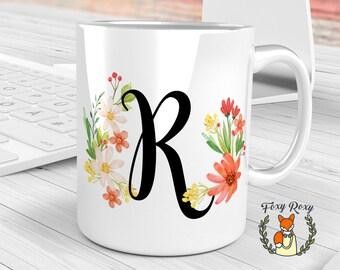 Floral mug, Custom Mug, Floral Initial Coffee mug, Monogram Mug, Personalized Coffee Mug, Bride Gift, Watercolor Ceramic, Floral, CM-028