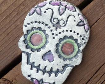 Sugar Skull Christmas Ornament - Day of the Dead Handmade Ceramic Ornament