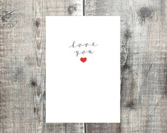 Simple Valentines Card - I love you - Valentines card - love you card