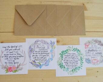 Boho Scripture Greeting Cards- Boho Bible Verse Folded Card Set- Bohemian Scripture Cards- Watercolor Scripture Cards- Scripture Stationary