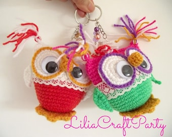 CROCHET PATTERN OWL Amigurumi Owl Key Chain Amigurumi Toy pdf pattern Instant Download Owl Key Chain step by step instructions Amigurumis