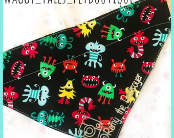"""Personalized Custom Boutique Reversible Pet Bandana """"Cuddle Monster """" Dogs Cats Ferrets sm to XL"""