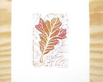 "Woodblock Print - ""Bur Oak"" Leaf Print - Fall Autumn Leaves - Red and Orange"