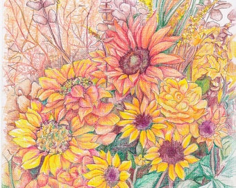 SUNFLOWERS- Art Print/Floral/Flowers/Still Life/Limited Edition