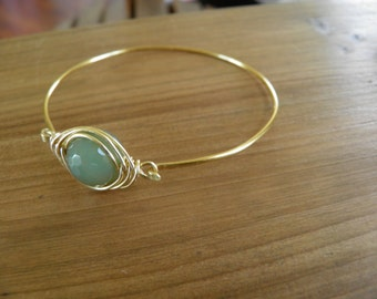 "Bracelet... ""Fall haze"" bangle bracelet handmade from brass wire."