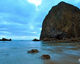 Long Exposure Sunset Haystack Rock