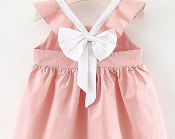 Baby girl bow back dress, Open back cotton dress, pink colors, baby shower gift, infant toddler kid children 3 6 9 12 24 months, 2T 3T