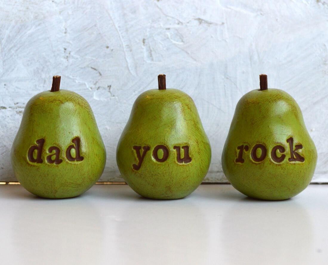 Gifts for dad ... dad you rock ...Three handmade decorative keepsake clay pears ... 3 Word Pears, green