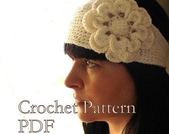 CROCHET PATTERN - Headband With Flower Crochet Pattern Looks Like Knitted