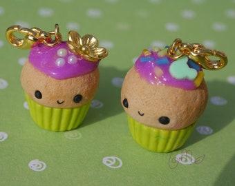 Kawaii happy cupcake polymer clay cupcake charms