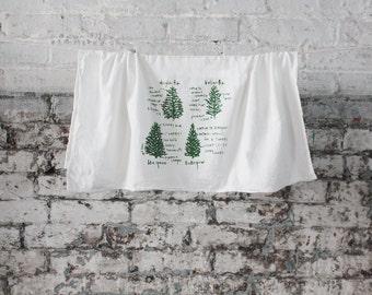 Conifers tree tea towel white cotton floursack kitchen towel pine trees housewarming gift wedding gift holiday gift