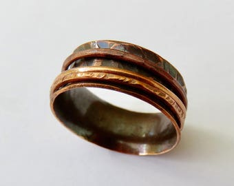 Wide Spinner Ring Copper - Hammered Worry Ring - Copper Wedding Ring - Copper Spinner Ring - Meditation Ring - Eternity Ring