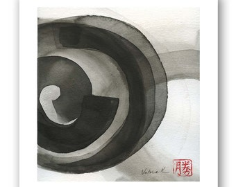 """SALE - Original black on white ink wash painting, zen minimalism, ink on watercolor paper 8""""x10"""" with 1"""" border"""