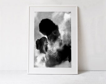 Printable Abstract Art Print, Scandinavian Poster, Modern Digital Print DOWNLOAD, Black and White Watercolor Art Abstract PRINTABLE Artwork
