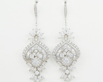 Bridal Earrings, Cubic Zirconia Crystals, Silver Tone, Wedding Jewelry, Ear Wires, Hannah Earrings - Will Ship in 1-3 Business Days