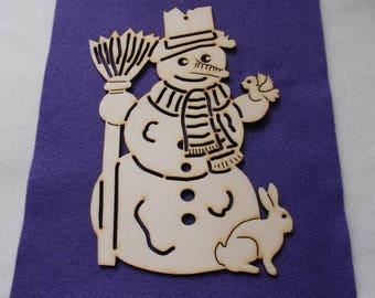 Snowman, wood, 1 pieces, 19 x 14 cm (14-0009C)