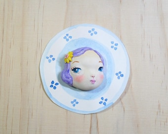 doll face brooch, flumo doll face,doll brooches,memoholder,refridge magnets, doll jewelry by atelierRJM